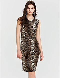 זול שמלות נשים-צווארון V עד הברך נמר - שמלה נדן מידות גדולות פעיל בגדי ריקוד נשים