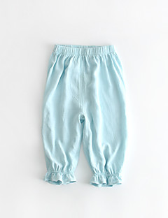 billige Bukser og leggings til piger-Ensfarvet Pigens Daglig Bomuld Hør Bambus Fiber Akryl Forår Uden ærmer Kjole Vintage Blå Hvid Lyserød Beige Marineblå