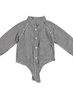 billige Pigetoppe-Børn Pige Ruder Langærmet Skjorte