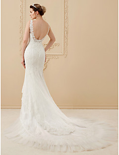 cheap Wedding Dresses-Mermaid / Trumpet Scoop Neck Chapel Train Tulle Over Lace Made-To-Measure Wedding Dresses with Beading by LAN TING BRIDE®