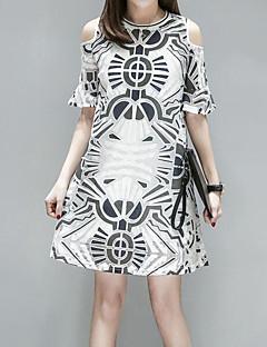 お買い得  レディースドレス-女性用 キュート ボヘミアン ルーズ ドレス - メッシュ, チェック 膝上