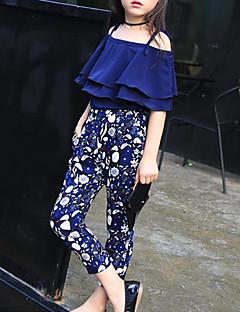 billige Tøjsæt til piger-Pige Tøjsæt Blomstret, Bomuld Forår Efterår Halvlange ærmer Blomster Navyblå