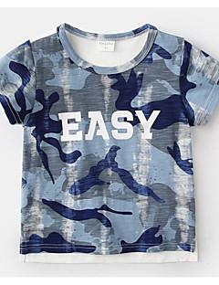 billige Overdele til drenge-Drenge Daglig Geometrisk T-shirt, Polyester Sommer Kortærmet Basale Blå Lyserød Grå