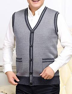 tanie Męskie swetry i swetry rozpinane-Męskie Rozmiar plus W serek Rozpinany Solid Color