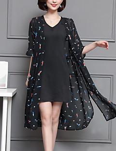 お買い得  レディースツーピースセット-女性用 シャツ フラワー ドレス
