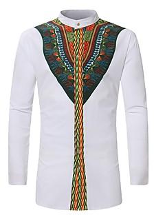 cheap Men's Clothing-Men's Vintage Shirt - Tribal Print Standing Collar / Long Sleeve