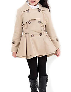 cheap Girls' Jackets & Coats-Girls' Solid Trench Coat, Polyester Spring Fall Long Sleeves Pink Khaki