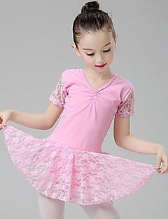 tanie Stroje baletowe-Balet Suknie Dla dziewczynek Szkolenie Wydajność Bawełna Koronka Zgnioty Krótki rękaw Naturalny Ubierać