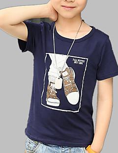 billige Overdele til drenge-Drenge Daglig I-byen-tøj Trykt mønster T-shirt, Bomuld Forår Sommer Kortærmet Aktiv Hvid Navyblå