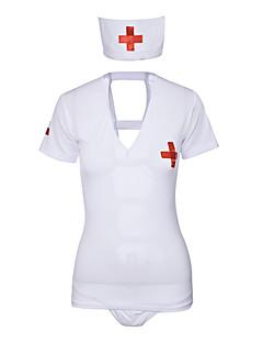 billige Nattøy til damer-Dame Dress Uniformer og kinesiske kjoler Babydukke Og Tøfler Nattøy - Ensfarget, Åpen rygg