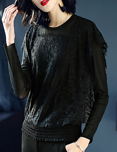 Χαμηλού Κόστους Lace up Tops-Γυναικεία T-shirt Βίντατζ / Κομψό στυλ street Μονόχρωμο Φαρδιά Δαντέλα / Με κοψίματα