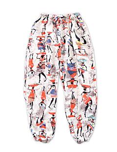 billige Bukser og leggings til piger-Trykt mønster Pigens Daglig Ferie Polyester Forår Sommer Kjole Boheme Orange