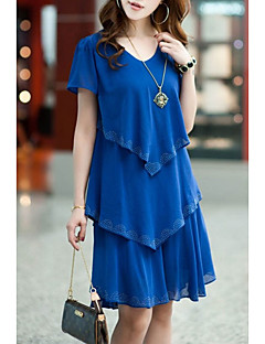 cheap Women's Dresses-Women's Plus Size Street chic Loose Chiffon Dress - Solid Colored Blue, Ruffle