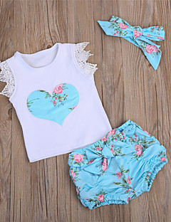cheap Baby's Clothing Set Sale-Baby Girls' Active / Basic Daily Print Sleeveless Long Cotton / Polyester Clothing Set White / Toddler