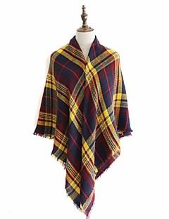 baratos Cachecóis da Moda-Mulheres Vintage Básico Lã, Triângulo - Em Cruz Retalhos