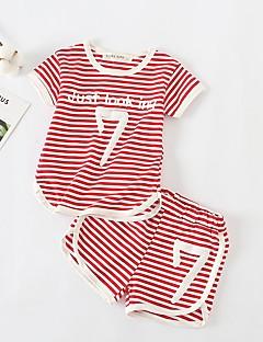 billige Tøjsæt til piger-Børn Unisex Stribet Kortærmet Tøjsæt