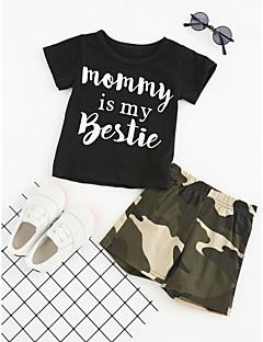 billige Tøjsæt til drenge-Drenge Tøjsæt Daglig Sport I-byen-tøj Geometrisk, Bomuld Polyester Sommer Kortærmet Pænt tøj Sort