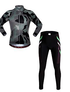 billige Sett med sykkeltrøyer og shorts/bukser-WOSAWE Herre Langermet Sykkeljersey med tights - Kamuflasje Kamuflasje Sykkel Jersey / Tights, 3D Pute, Refleksbånd Spandex
