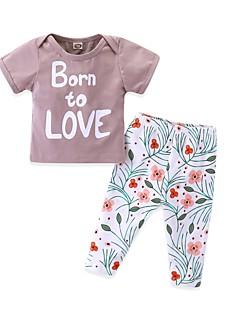 billige Tøjsæt til piger-Baby Pige Blomstret / Trykt mønster Kortærmet Tøjsæt