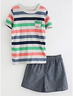 billige Tøjsæt til drenge-Baby Drenge Ensfarvet Stribet Kortærmet Tøjsæt
