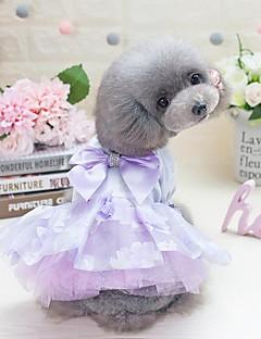 billiga Hundkläder-Hund Katt Små pälsdjur Husdjur Klänningar Hundkläder Blomma Prinsessa Rosett Purpur Rosa 100% Polyester Kostym För husdjur Dam Gulligt