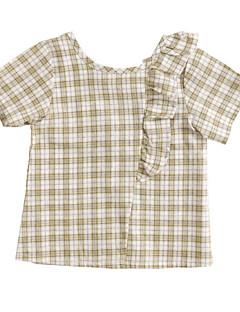 billige Pigetoppe-Børn Pige Ternet Kortærmet Skjorte