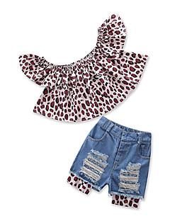 billige Tøjsæt til piger-Baby Pige Leopard Kortærmet Tøjsæt