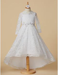 tanie Sukienki dla dziewczynek z kwiatami-Księżniczka Asymetryczna Sukienka dla dziewczynki z kwiatami - Koronka Długi rękaw Zaokrąglony z Koraliki / Kwiat przez LAN TING BRIDE®