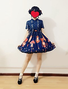 cheap Lolita Dresses-Sweet Lolita Dress Cute Women's Dress Cosplay Yellow Red Blue Cap Short Sleeves Knee Length