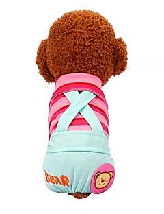 billiga Hundkläder-Hund / Katt / Husdjur Byxor Hundkläder Randig / Mönstrad / Citat och ordspråk Gul / Fuchsia / Blå Cotton Kostym För husdjur Dam Söt Stil