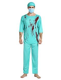 billige Halloweenkostymer-Doktorveske Kostume Herre Halloween Halloween Karneval Maskerade Festival / høytid Drakter Blå Ensfarget Halloween