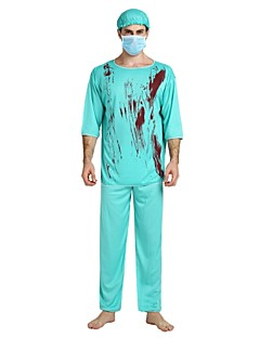 billige Halloweenkostymer-Doktorveske Kostume Herre Halloween / Karneval / Maskerade Festival / høytid Halloween-kostymer Blå Ensfarget / Halloween Halloween