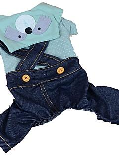 billiga Hundkläder-Hund / Katt / Husdjur Jumpsuits Hundkläder Prickig / Jeans / Tecknat Blå / Rosa / Marin Bomull / Polyester Kostym För husdjur Herr Stilig