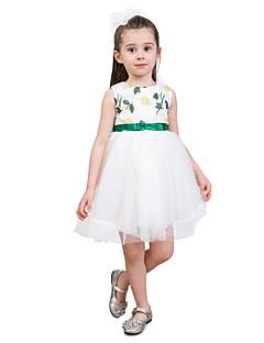 billige Pigekjoler-Børn Baby Pige Trykt mønster Farveblok Jacquard Vævning Uden ærmer Kjole