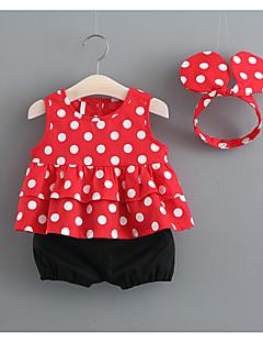 billige Sett med babyklær-Baby Pige Prikker Uden ærmer Tøjsæt
