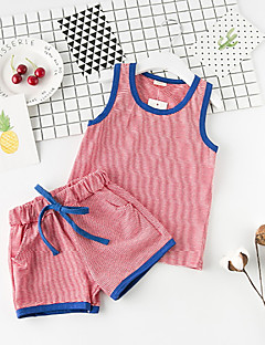 billige Tøjsæt til drenge-Baby Drenge Stribet Uden ærmer Tøjsæt