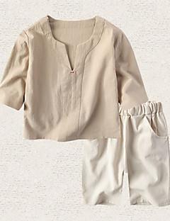 billige Tøjsæt til drenge-Børn Drenge Ensfarvet 3/4-ærmer Tøjsæt