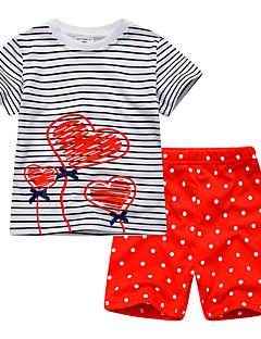 billige Tøjsæt til piger-Børn / Baby Unisex Stribet / Regnbue Kortærmet Tøjsæt