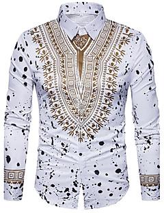 billige Herremote og klær-Bomull / Polyester Tynn Skjorte Herre - Geometrisk Bohem / Gatemote / Langermet