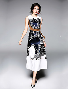 billige Designerkollektion-Dame Arbejde Gade A-linje Swing Kjole - Ensfarvet, Trykt mønster Midi