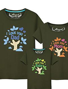 billige Sett med familieklær-3 deler Baby Familie Look Fargeblokk / Bokstaver Kortermet T-skjorte