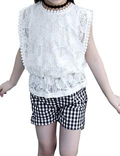 billige Tøjsæt til piger-Børn Pige Ensfarvet Houndstooth mønster Kortærmet Tøjsæt
