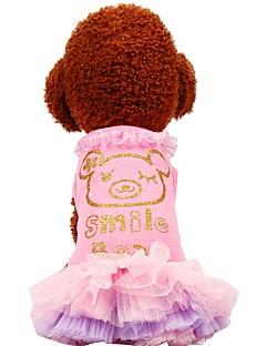 billiga Hundkläder-Hund / Katt / Husdjur Klänningar Hundkläder Voiles & Skira / Mönstrad / Citat och ordspråk Grön / Rosa Cotton Kostym För husdjur Dam