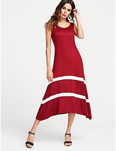Χαμηλού Κόστους Μακριά Φορέματα-Γυναικεία Βασικό Φαρδιά Φόρεμα - Ριγέ Μακρύ Μαύρο