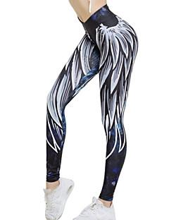 billiga Träning-, jogging- och yogakläder-Dam Yoga byxor - Blå / Vit sporter Grafisk Cykling Tights / Leggings Löpning, Fitness, Gym Sportkläder Andningsfunktion, Snabb tork Elastisk