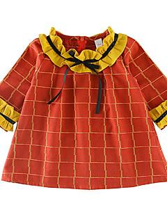 billige Babytøj-Baby Pige Trykt mønster 3/4-ærmer Kjole
