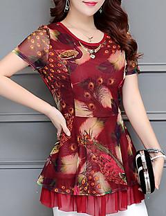 billige Damemode og tøj-dame bluse - geometrisk rund hals