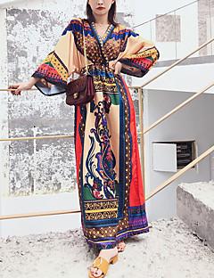 baratos Vestidos de Festa-Mulheres Feriado Bainha Vestido Estampa Colorida Decote V Longo / Primavera / Verão