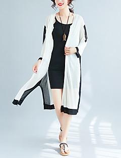 tanie Swetry damskie-Damskie Rozmiar plus Bawełna Aktywny Bufka Rozpinany - Plisy, Jendolity kolor Długi rękaw