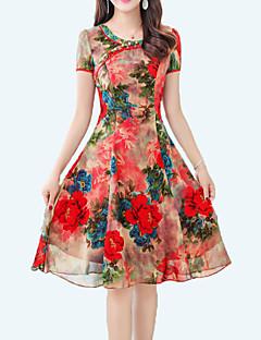 billige Vintage-dronning-Dame Vintage Sofistikerede Skede Kjole - Blomstret, Trykt mønster Knælang